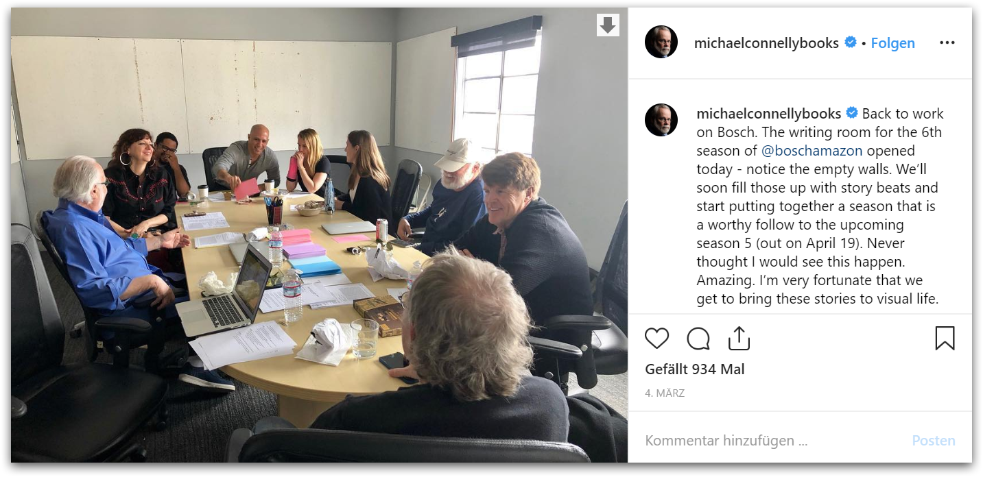 Aus dem Instagram Account von Michael Connelly